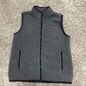 Vineyard Vines Women's Sherpa Vest Gray Sz M EUC